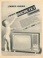 PUBLICITE ADVERTISING   1965  DUCRETET THOMSON  téléviseur