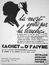 PUBLICITÉ CACHET DU Dr FAIVRE NÉVRALGIE MIGRAINE DOULEURS FIÈVRE