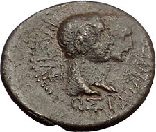 AUGUSTUS LIVIA & RHOEMETALKES PYTHODORIS Capricorn 11BC THRACE Roman Coin i57282