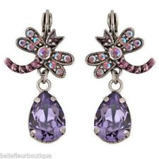 Kirks Folly Dragonfly Tears Leverback Earrings Hand-Enameled Purple Crystals
