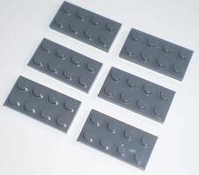 JEU JOUET ENFANT Personnage LEGO * Lot 6 BRIQUES PLATES 2 X 4 - GRIS FONCÉ  *
