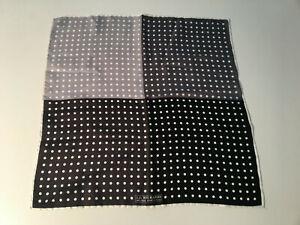 "J.Z.RICHARDS 100% Silk Navy Black White Polka dot Pocket Square Handkerchif 17"""