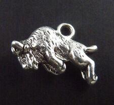 64pcs Tibetan Silver 3D Bison Animal Charms Pendants 20x13.5mm 9340