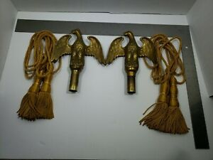 Vintage Brass Eagle Flag Pole Toppers Finial Pair w/ Silk Rope Tassels