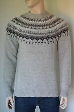 NEW Abercrombie & Fitch Nordic Crew Sweater Jumper Pullover Light Brown L