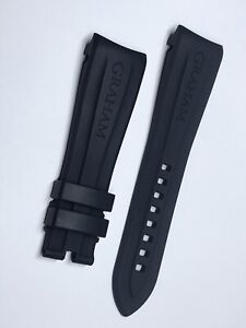 Authentic Graham Chronofighter Navy Blue Rubber Strap Watch Band 24mm x 20mm