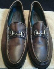 Genuine Leather Brown ~HH Brown~ shoes with gold horsebit buckle Size 9.5