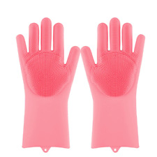 1 Pair Kitchen Cleaning Silicone Dishwashing Scrubber Rubber Scrub Gloves Colors