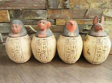 Antique Set Of 4 Egyptian Ancient Canopic Jars Organs Storage Statues _ X-LARGE