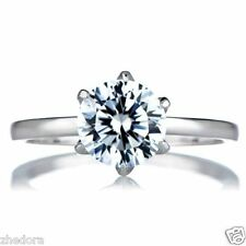 1 CT Brilliant Round Cut Solitaire Engagement Ring 14k Solid White GOLD