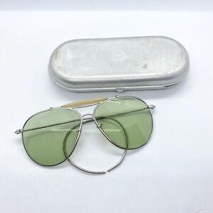Vintage B&L Bausch & Lomb Sunglasses WWII Era Green Aviators w/ Case