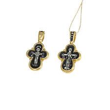 Vergoldete SILBER KREUZ 925 Sterling Anhänger russisch 4517 крест серебрянный