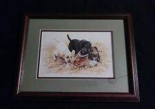 "James Killen 9x6 Print ""Three To Boot"" Labrador Puppies Matted Wood Framed"