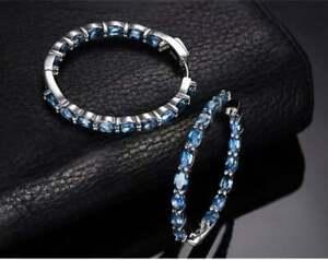 Classic 3.50 CT London Blue Topaz 935 Argentium Silver Hoop Wedding Fine Earring