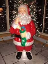 """NEW Vintage Christmas 40"""" Lighted Santa Holding A Stocking Blow Mold Decoration"""