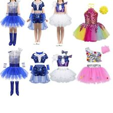 Girls Jazz Ballet Ballroom Dance Tutu Dress Sequins Crop Top Stage Show Costume