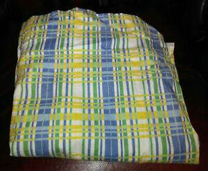 """Vintage Curtains / Upholstery Fabric 46"""" Length 44"""" Wide Blue Green Yellow White"""