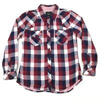 Rails Womens S Cotton Plaid Flannel Button Down Shirt Blouse Top Red Blue White