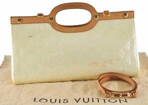 Auth Louis Vuitton Vernis Roxbury Drive 2Way Shoulder Hand Bag Ivory LV D7467