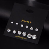 6 Pair Fashion Women Silver CZ Crystal Rhinestone Ear Stud Earrings Jewelry Gift
