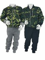 KIDS BOYS ARMY CAMO SUIT CAMOUFLAGE TRACKSUIT ZIP JACKET AND BOTTOM WITH POCKETS