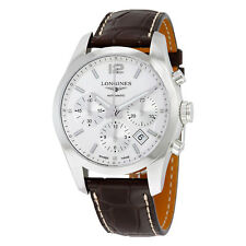 Longines Conquest Classic Chrono White Dial Brown Alligator Mens Watch