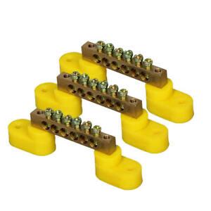3PCS 6 Holes Positions Screw Metal Terminal Grounding Strip Bus Bar Block