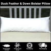 100% Cotton Luxury Duck Feather & Down Extra Filled Bolster Pillows All Sizes