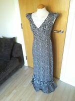 Ladies NEXT Dress Size 8 Black Blue Long Maxi Boho Hippie Festival Smart