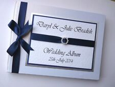 PERSONALISED WEDDING GUEST BOOK WITH DIAMONTE BUCKLE (NAVY) - ANY COLOUR