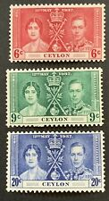 Ceylon KGVI 1937 set of 3 Corornation Stamps MH 6c-20c SG383/85