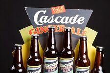 Vintage Cascade Ginger Ale Cardboard Store Display for 6 Bottles - RARE!