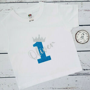 Personalised First Birthday Baby 1st T-Shirt Outfit One Boy Name Cake Smash