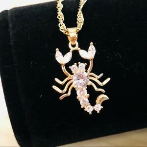 Scorpion Gold Sapphire Pendant Necklace- NEW