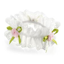 Ivory Ribbon Pink Rosebud Flower Hair Bun Garland Scrunchie Elastic Dance Bridal