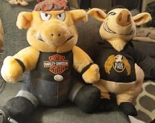 "Set/2 Ride Free Biker Pig Plush Kellytoy 13""+ Harley Hog 1993 Play-by-Play Plush"