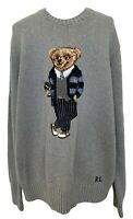 POLO RALPH LAUREN MEN'S GRAY 'PREPPY BEAR' SWEATER, L, $545
