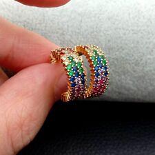15mm hoop earrings micro pave rainbow cz cubic zirconia Stud earrigns