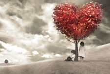 CHILDREN UNDER RED HEART LOVE TREE * LARGE A3 SIZE QUALITY CANVAS ART PRINT