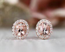 3.50Ct Oval Unique Cut Morganite Diamond Halo Stud Earrings 14K Rose Gold Finish