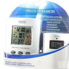 Wireless Thermometer Indoor Outdoor Digital w/ Clock & Humidity Meter NEW