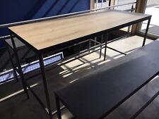 Stivoller Tisch - Hochtisch mit Bänken, Rohstahl, Holzdekor