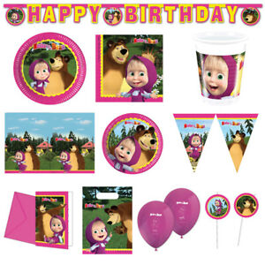 Masha And The Bear Girls Birthday Party Tableware Decorations Straws Banner