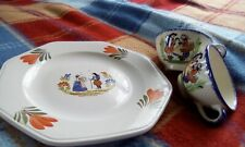 French Breton plate and cups