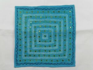 Indian Stonewashed Mirrored Cushion Cover 16 Inch Square Turquoise