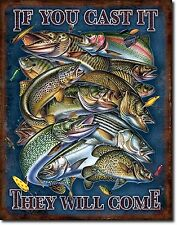 Fishing If You Cast It They Will Come Humorous Tin Metal Sign Wall Decor 1906
