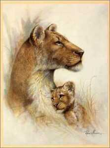 Lion Mother with Cub Paper Tole 3D Decoupage Craft Kit Size 18x24 inches 18-8024