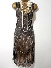 GATSBYLADY LONDON 20'S STYLE FLAPPER CHARLESTON DECO SEQUIN/BEAD DRESS SIZE UK12