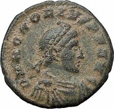 Honorius with labarum & globe 393AD Authentic Ancient Roman Coin  i54459