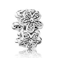 925 Sterling Silver Dazzling Daisies Spacer Charmsl Clear CZ Dangle Charm Bead